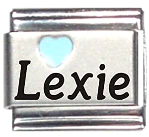 Amazon.com: Lexie Light Blue Heart Laser Name Italian ...
