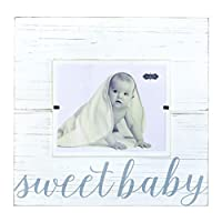"Mud Pie Sweet Baby Deluxe Wood Frame Nursery Décor, Gray, 8"" x 10"""