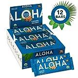 ALOHA Organic Plant Based Protein Bars  Caramel Sea Salt   12 Count, 1.9oz Bars   Vegan, Low Sugar, Gluten Free, Paleo, Low Carb, Non-GMO, Stevia Free, Soy Free, No Sugar Alcohols