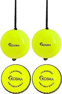 Kosma Cricketbälle, 4 Stück, zum Aufhängen, für Cricket-Übungen, mit Reaktionsschnur und 2 Windbällen