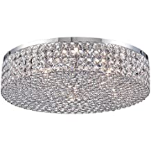 """Velie 16"""" Wide Round Crystal Ceiling Light"""
