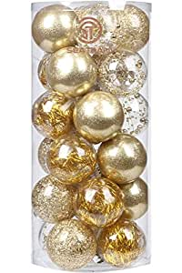 "Sea Team 70mm/2.76"" Shatterproof Clear Plastic Christmas Ball Ornaments Decorative Xmas Balls Baubles Set with Stuffed Delicate Decorations (24 Counts, Gold)"
