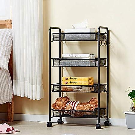 LCTZWJ Gabinete de almacenamiento moderno de cocina de hierro forjado, vajilla multifuncional ideal Estante de almacenaje Pasillo con ruedas móviles, estantería, estante para baño, estante de almacena: Amazon.es: Hogar