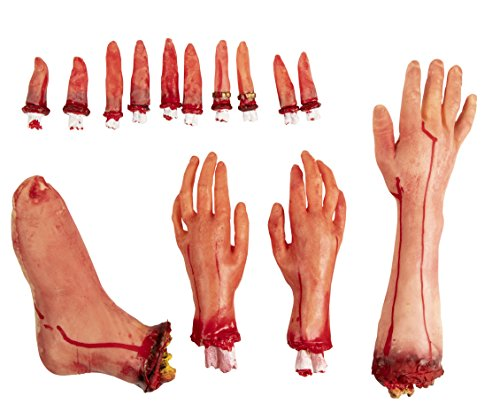 Fake Body Part - 14-Piece Bloody Human Body Parts, Artificial Broken Foot, Arm, Hands Fingers Halloween Party Props, Haunted House Decoration, April Fool Prank Toys