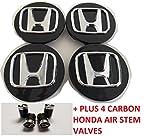 Honda Wheel Badge Center Caps Set of 4 69mm or 2.75 Black Accord Civic Pilot