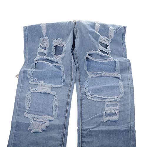 Moda Aire Ripped Las Fit Slim Al Azul Stretch Botón Libre Bolsillos Mujeres Vaqueros Mezclilla Pantalones Huixin De Casuales Delanteros nRpXatY