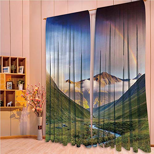 ZHICASSIESOPHIER Modern Style Room Darkening Blackout Window Treatment Curtain Valance for Kitchen/Living Room/Bedroom/Laundry,with Narrow Riverbed Mountains Rainbow Grass 108Wx73L Inch