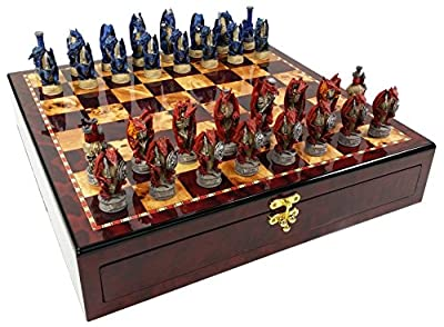 Medieval Dragon Fantasy Red & Blue Chess Set W/ High Gloss Cherry & Burlwood Color Storage Board 17""