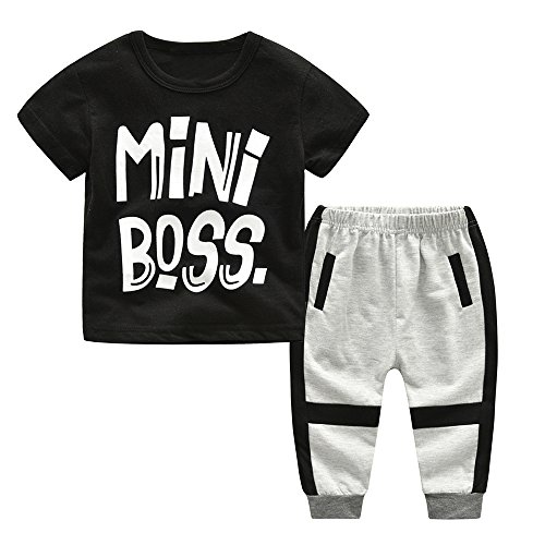 2Piece Toddler Kids Baby Boy Outfits Set,Short Sleeve Letter Mini Boss Print Front T-Shirt Stripe Trousers Pant Clothes Suit Black