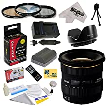 Sigma 10-20mm f/4-5.6 EX DC HSM Autofocus Lens For the Nikon D700 D300S D300 D200 D100 D90 D80 D70 D70s D50 - Includes 77MM 3 Piece Pro Filter Kit (UV, CPL, FLD) + Replacement Battery Pack for the