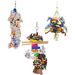 3 pc Bird Toy Bundle - Perfect For Larger Parrot Species Like Cockatiels, Cockatoos, Large Parakeets and Amazons