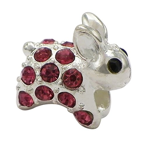 Urban Outfitters Animal Costumes (Rosemarie Collections Women's Pink Crystal Bunny Rabbit Bead Charm)