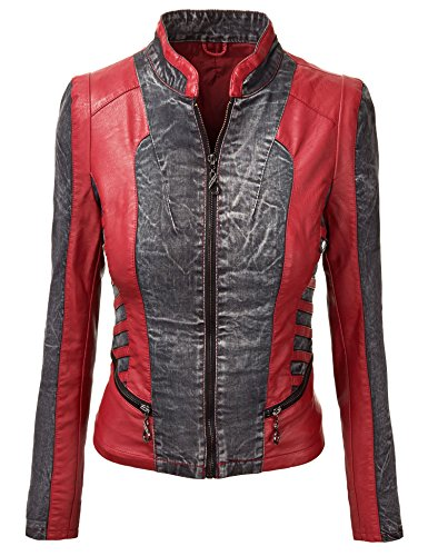 - WJC612 Womens Distress Denim Faux Leather Mix Jacket XS BLACK_DENIM_RED