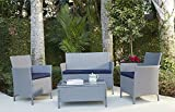 Patio Furniture Sets Clearance Outdoor Conversation Set Resin Wicker Loveseat Chairs Table Deep Seating Cushioned 4 Piece, Gray and Navy Blue