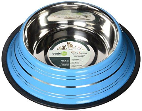 Iconic Pet Color Splash Stripe Non-Skid Pet Bowl, 32-Ounce, Blue