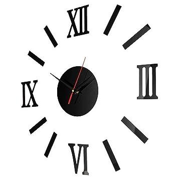GuoEY Acrílico Espejo de Pared Reloj de Pared Reloj Adhesivo Roman Reloj Digital Reloj Silencio,