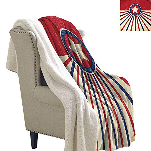 Jinguizi Texas Star Digital Printing Blanket Vintage Stripes and Grunge Liberty and Freedom Themed USA Image Bed Cover 60x47 Inch Vermilion Beige Navy Blue