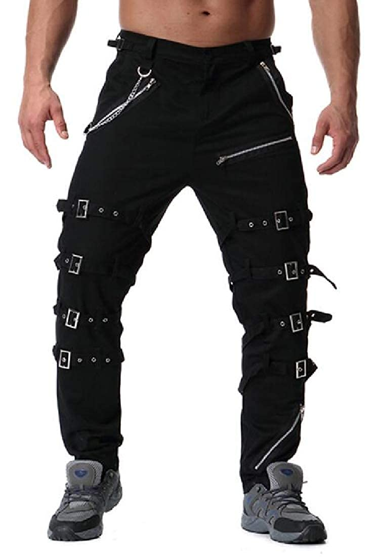 YYear Mens Hip Hop Plus Size Zip Trim Mid Waist Trendy Lounge Pants Trousers