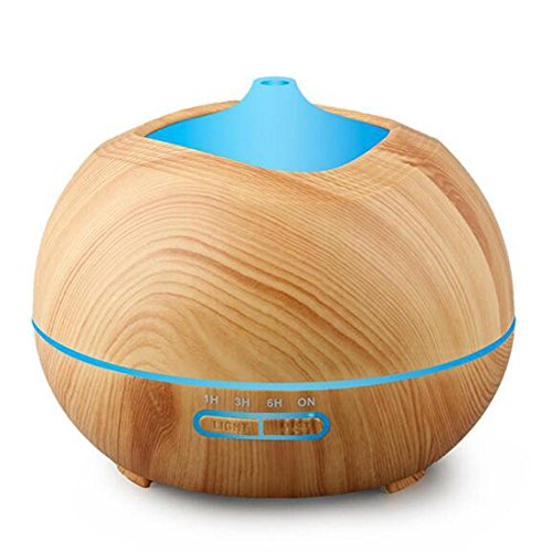 Aroma Diffuser JY-185 Ultrasonic Mute Humidifier Aromatherapy Indoor Air Purification LED Color Night Light Waterless Shut Down Timer Mode Home Office 400ml , Wood grain by JIAYEU