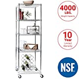 Seville Classics UltraDurable Commercial-Grade 5-Tier NSF-Certified Steel Wire Shelving with Wheels, 24' W x 18' D x 72' H, Chrome