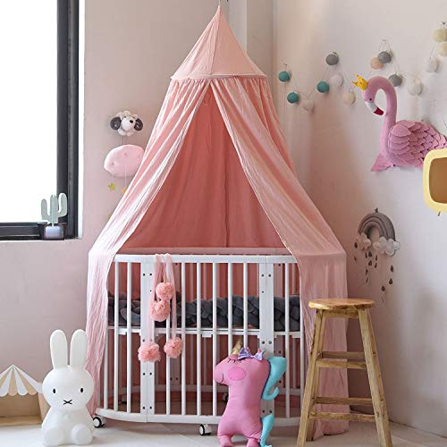 Girls Canopy (Princess Bed Canopy Mosquito Net for Kids Baby , Round Dome Kids Indoor Outdoor Castle Play Tent Hanging House Decoration Reading nook Cotton Canvas Height 240cm / 94.9 inch (Princess Pink))