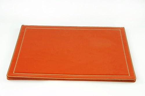 Sottomano da scrivania a ribalta arancio pelle regalo