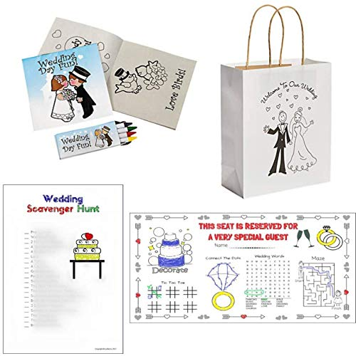 Wedding Activity Kits for Kids (12 Sets): Treat Bags, Coloring Books & Crayons, Placemats, Scavenger Hunt Coloring Pages