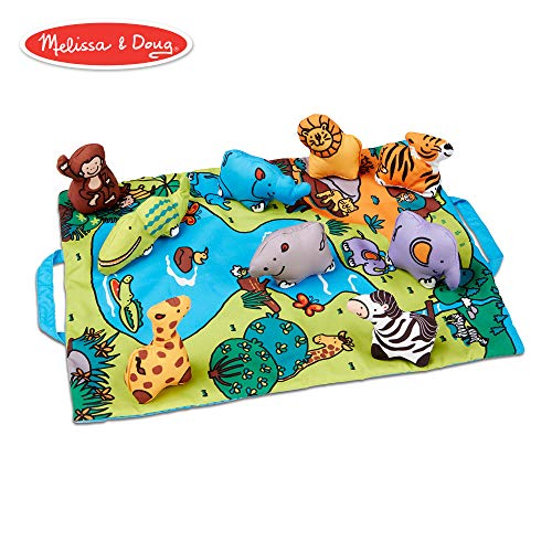 - Melissa & Doug Take-Along Folding Wild Safari Play Mat (19.25 x 14.5 inches) With 9 Animals