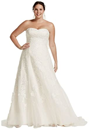 9973e93646959 Tulle A-Line Plus Size Wedding Dress with Lace Style 9V3587, Ivory, 16W