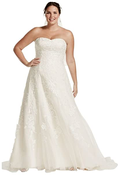 Tulle A-Line Plus Size Wedding Dress with Lace Style 9V3587 ...