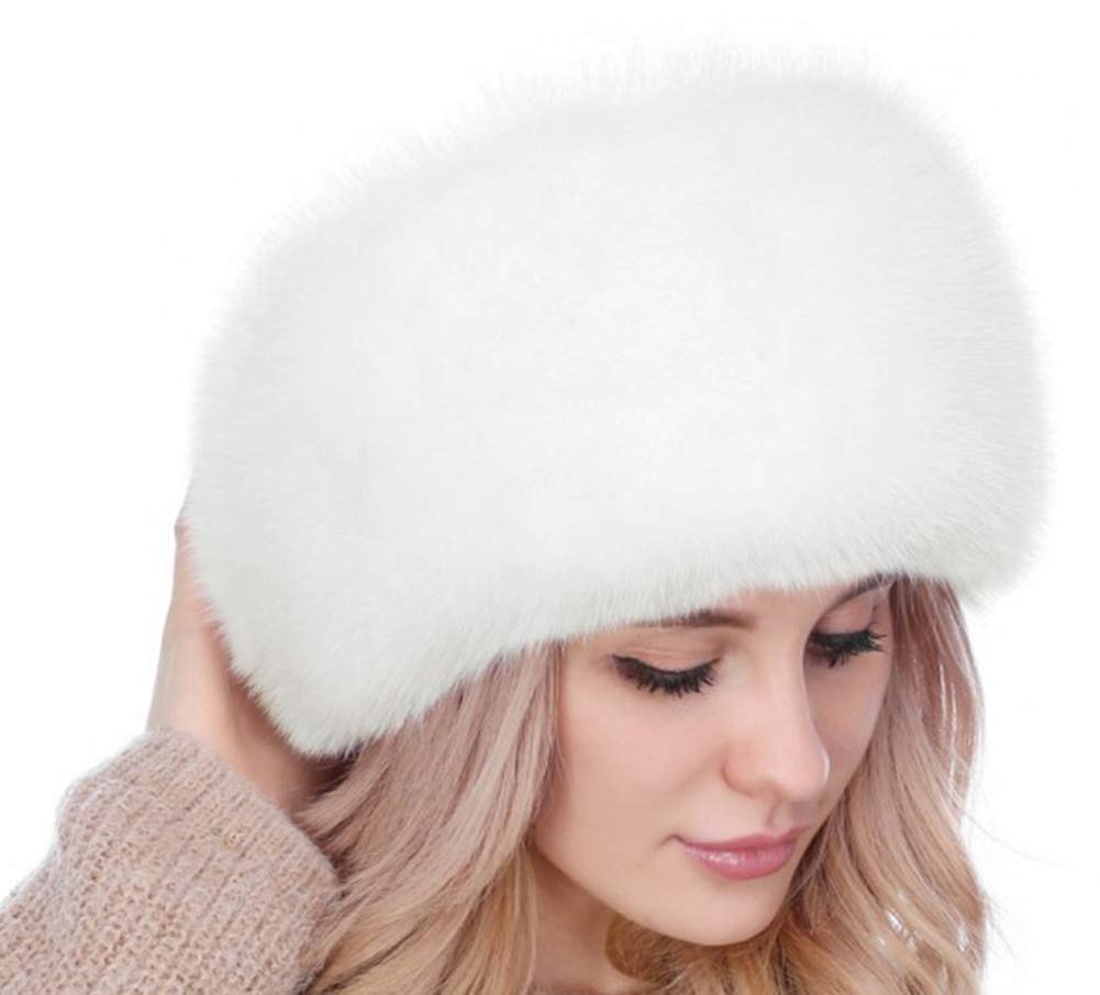 Lovful Winter Women Faux Fur Russian Cossack Style Hat Winter Wrap Hat,White