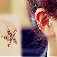 Nongkhai shop ONE WOMEN Starfish Gold Tone Full Rhinestone CRYSTAL Earring Ear Clip Cuff Wrap