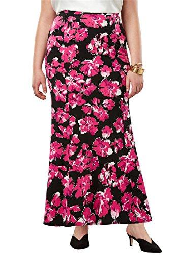 's Plus Size Travel Knit Maxi Skirt - Berry Brilliant Floral, 22/24 ()