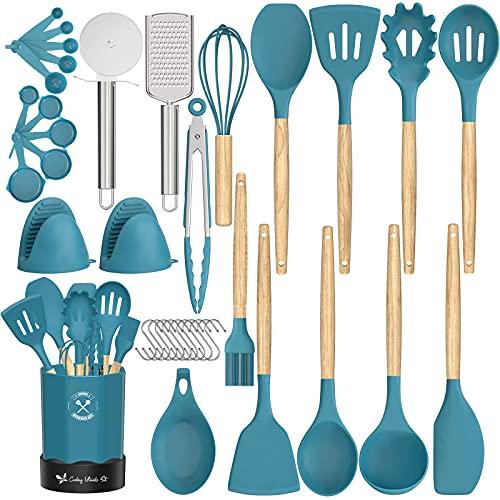Estmoon Kitchen Cooking Utensil Set, 28 Pcs Non-stick Silicone Cooking Kitchen Utensils Spatula Set with Holder,BPA Free Non Toxic Cooking Utensils Set Cookware Set Kitchen Gadgets Tools Set (Blue)