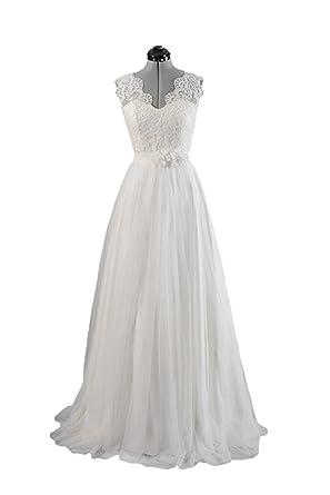 Marsen A Line Double V-neck Sleeveless Lace Wedding Dress Evening Dress