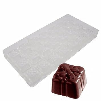Molde del chocolate de policarbonato transparente con forma de caja de regalo Candy Making molde DIY ...