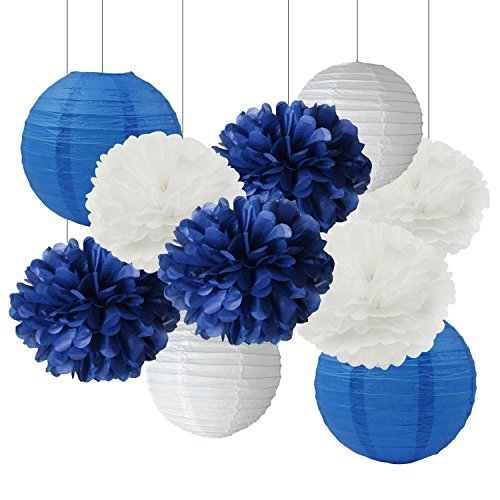 Furuix White Navy Blue 10inch Tissue Paper Pom Pom Paper Lanterns Mixed Package for Navy Blue Themed Party Wedding Paper Garland, Bridal Shower Decor Baby Shower (Blue And White Party Decorations)