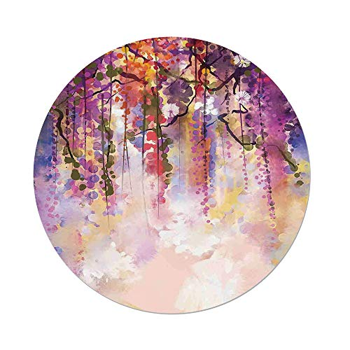 Polyester Round Tablecloth,Watercolor Flower,Spring Flowers Floral Texture Print of Vibrant Japanese Garden,Peach Purple Coral,Dining Room Kitchen Picnic Table Cloth Cover,for Outdoor Indoor ()