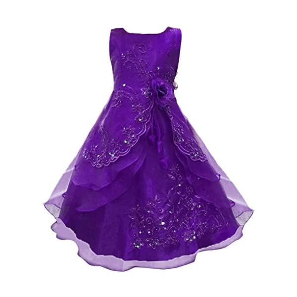 4c0c6e15991 Shiny Toddler Little Big Girls Embroidered Beaded Flower Girl Flower Girl  Birthday Party Daddy-Daught Dress with Petticoat