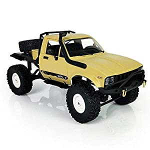 E-SCENERY 1:16 WPL C14 Scale 2.4G 2CH 4WD RC Off-road Truck, High Speed Remote Control Semi-truck Short Course Racing Car With USB Rechargeable Battery (Yellow)
