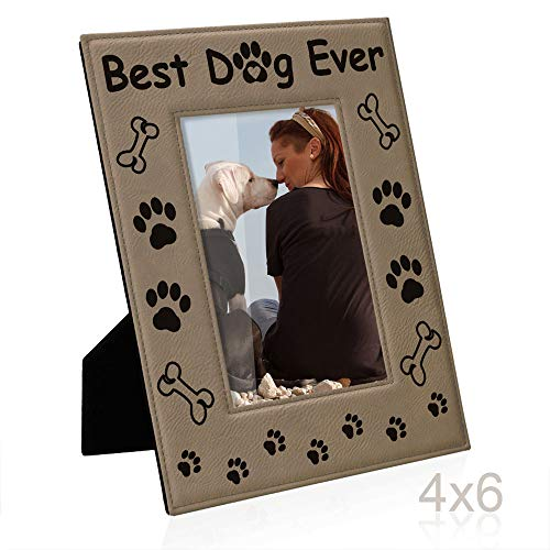KATE POSH - Best Dog Ever Engraved Leather Picture Frame - Dog Lover Gifts, Dog Memorial Gifts, Birthday Gifts, Dog Paws and Bones Decor, Pet Memorial Gifts (4x6-Vertical) (Engraved Frame Dog Photo)