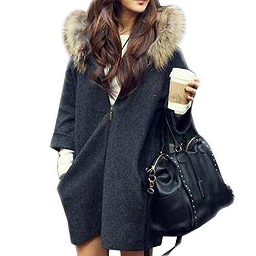 - Paradise Kiss New Womens Oversized Loose Knit Cardigan Faux Fur Hooded Coat Zip Jacket Parkas (Dark Grey)