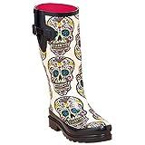 Blazin Roxx Size 11 M&F Western Womens Cream Sugar Skull Design Round Toe Leg RAIN Boots