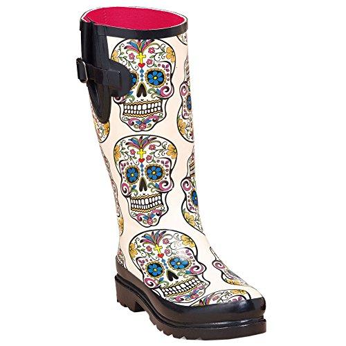 Blazin Roxx Women's Rocki Sugar Skull Rain Boot White 7 US -