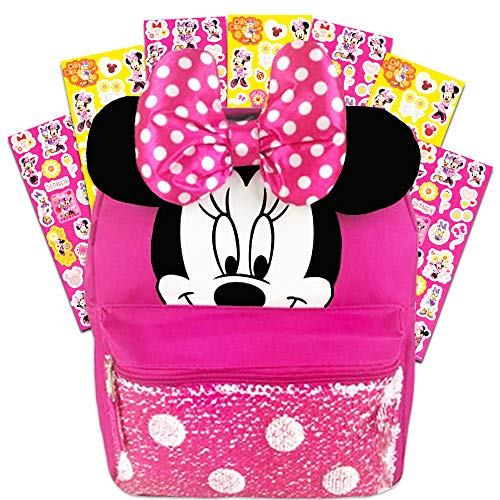 Disney Minnie Mouse Backpack for Girls Toddlers Kids ~ Deluxe 12 Inch Minnie Preschool Toddler Backpack with Ears, Bow and Magic Reversible Sequins and Stickers (Minnie Mouse School Supplies) (Best Backpacks For 2019)