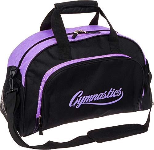 LISH Gemma Gymnastics Duffel Bag - Girl's Travel Sports Gym Bag w/Shoe Compartment (Black/Purple)