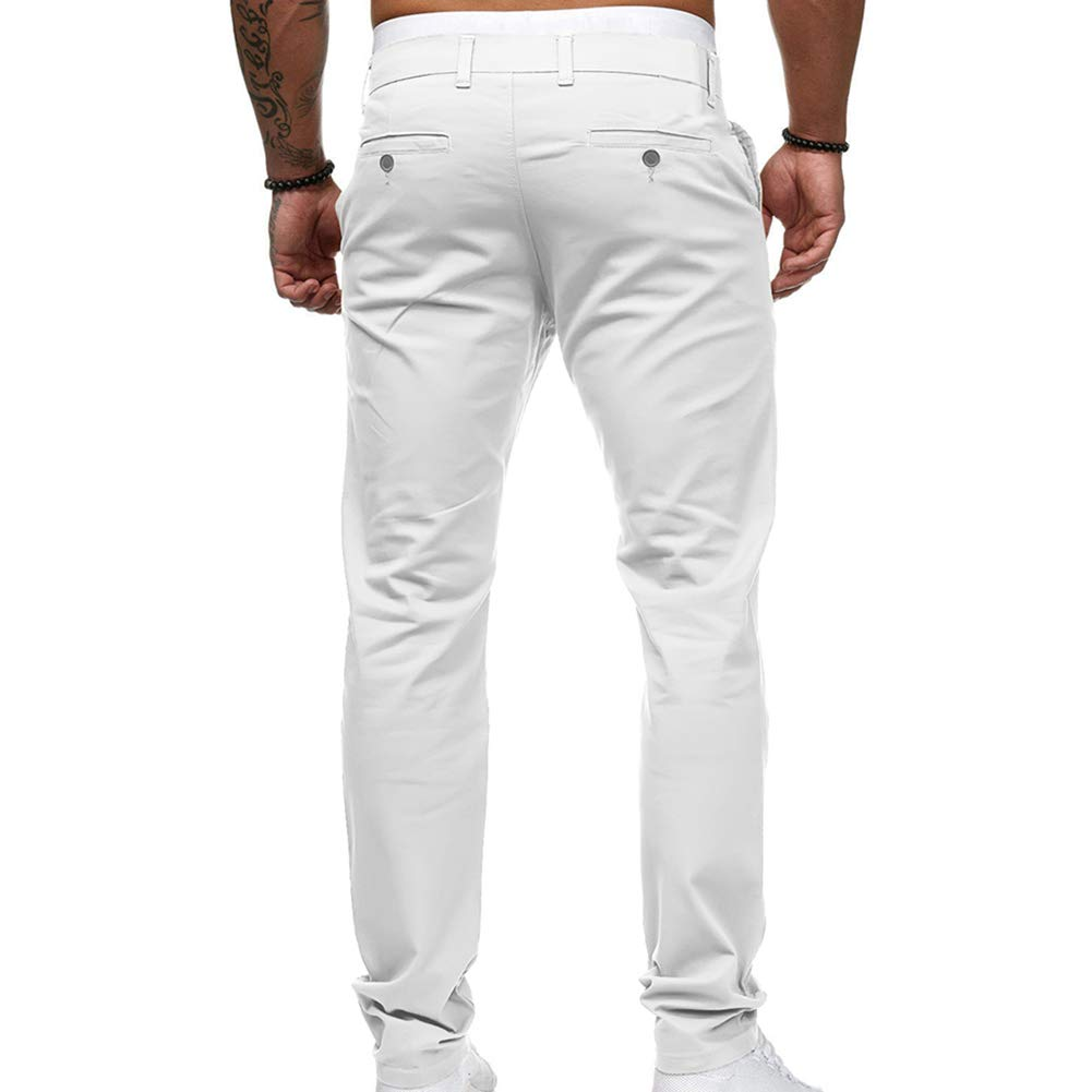 vOPRvana1n Men Casual Pants Fashion Solid Color Pocket Straight Slim Fit Zipper Button Long Trousers White M