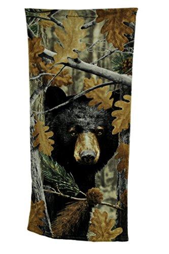 Zeckos Black Bear Leaf Camouflage Print Cotton Beach Towel 28 X 58