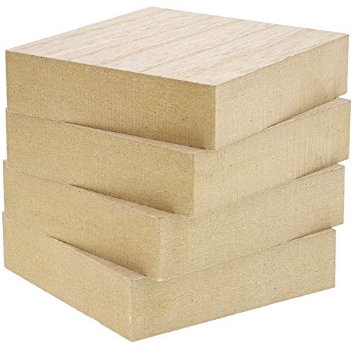 Bright Creations Unfinished MDF Wood Blocks for DIY Crafts (4 Pack)