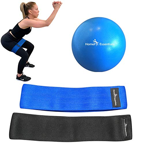 HomeFit Essentials Exercise Resistance Circle Bands - Hip Flexor Abductor Fabric Booty Loops [Set of 2] and 9 Inch Pilates Ball for Glutes, Legs, Thighs, Butt and Squat Workouts